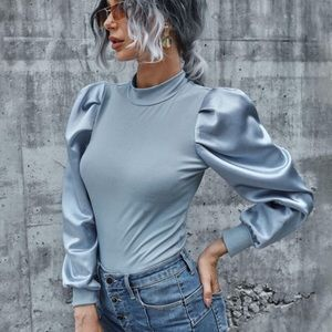 Ribbed Long Sleeve Puff Top- BLUE